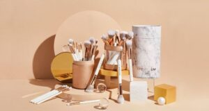 a collection of makeup brushes